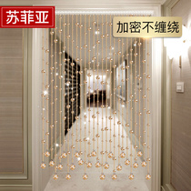 Crystal bead curtain living room across the bedroom decorated dressing room curtain new home curtain hole-free feng shui curtain