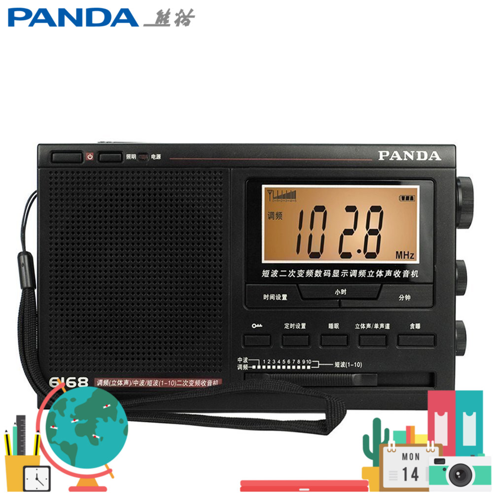 Panda 6168 Radio 12-band Secondary Frequency Conversion High Sensitivity College Entrance Examination Need High Anti-jamming