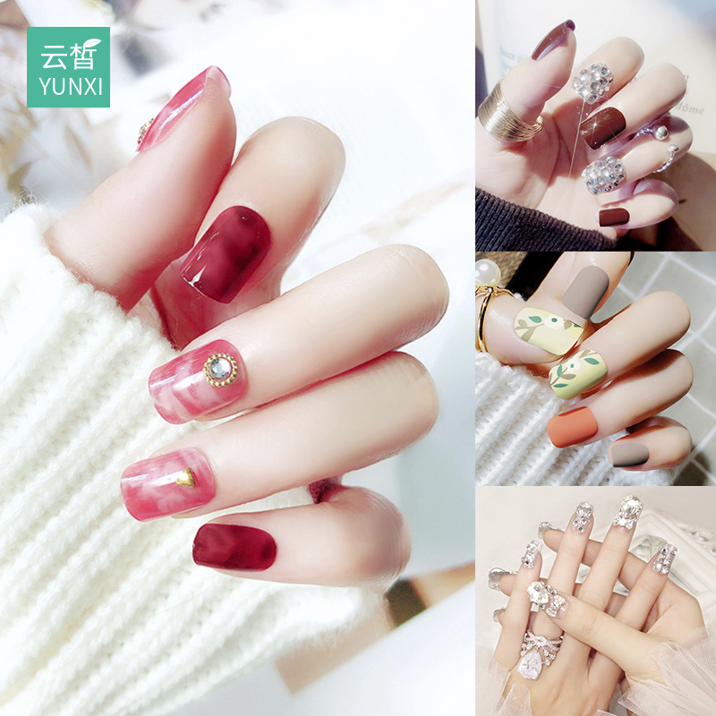Nail art finished nail patch nail sticker waterproof durable nail sticker full stickers Korea 3d wearable jewelry