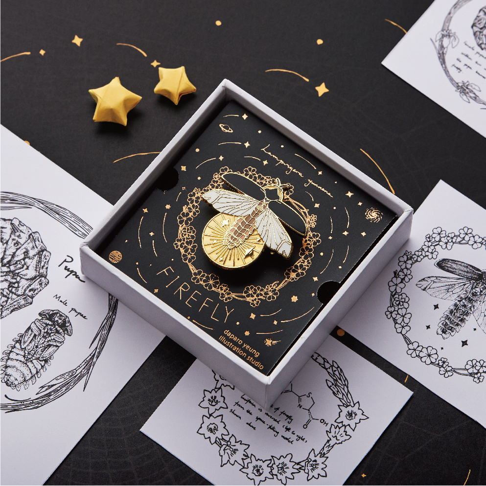 daparo萤火虫胸针原创设计夜光萤光创意小众百搭徽章首饰耶诞礼物