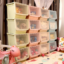 Front open-type toy storage box thickened with large plastic household childrens snacks finishing box box storage layer rack