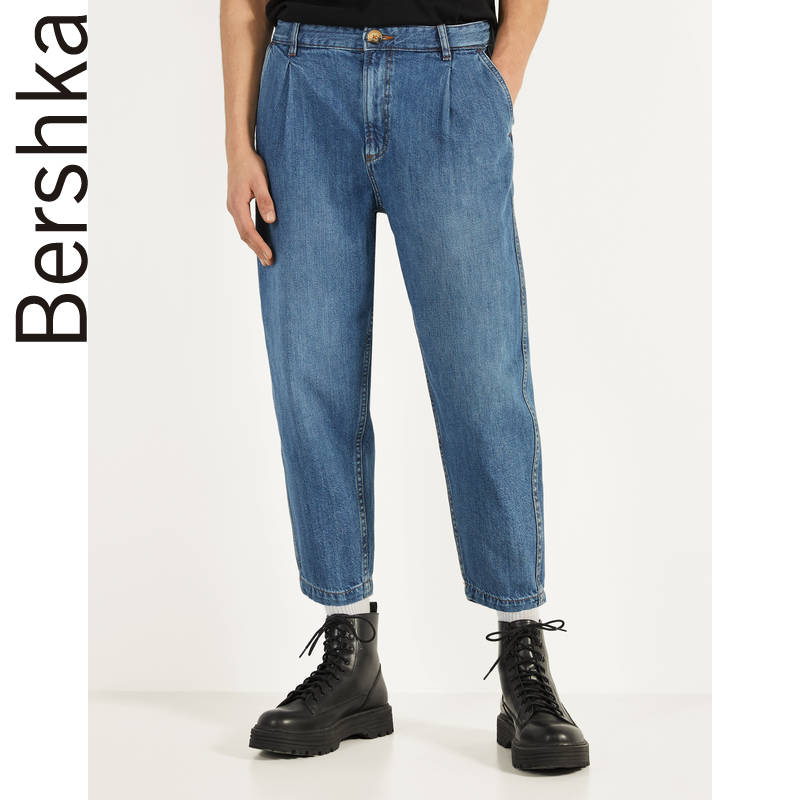 Bershka men's new spring 2020 relaxed retro daddy pants lantern jeans 00248251428