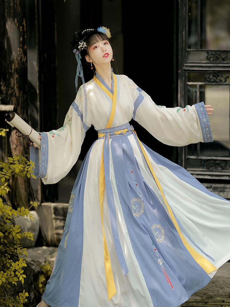 Han time (with blue tone) Han dress female original jin waist-to-waist collar daily spring thick ten-broken skirt