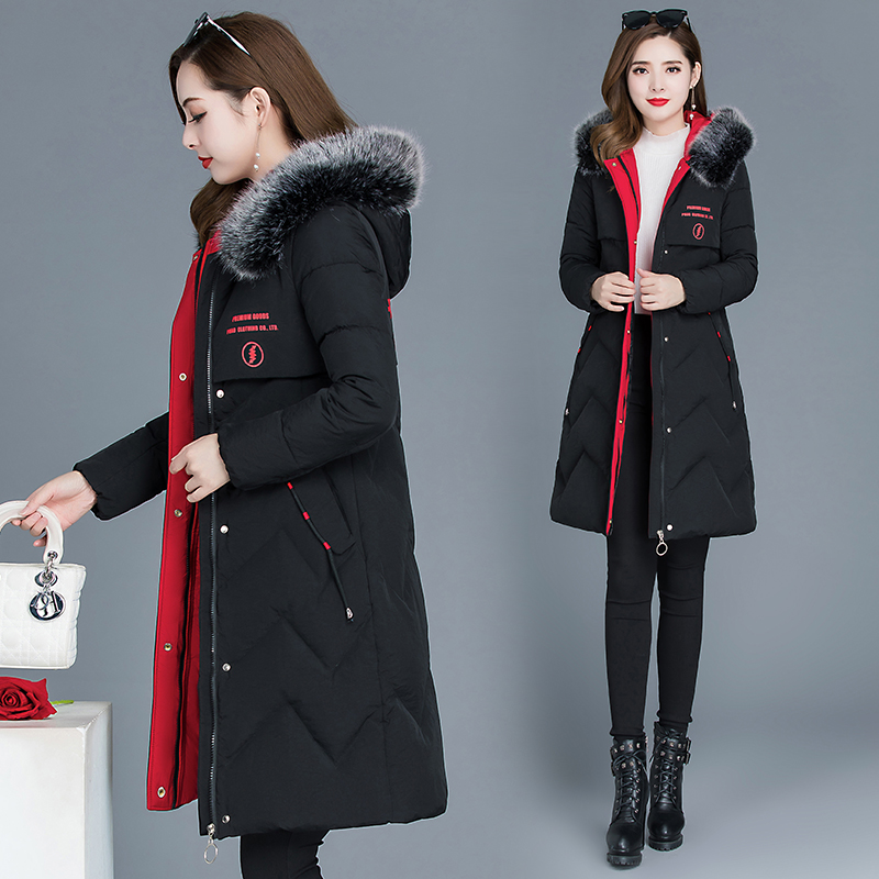 Winter 2020 new down cotton dress womens fashion thick warm medium and long version of the hooded cotton jacket cotton jacket