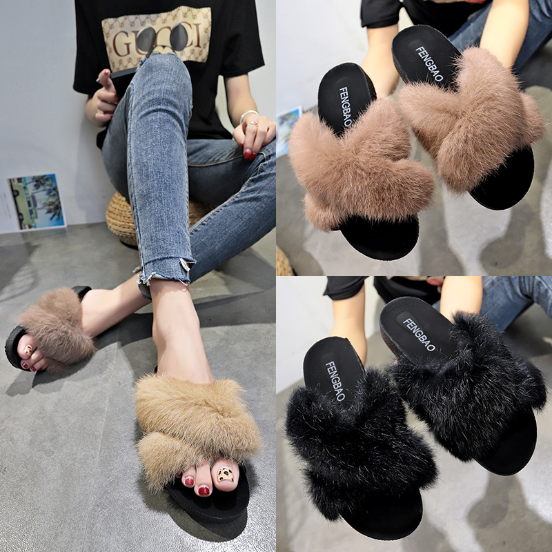 2018 autumn and winter new Korean version of the wild cross fur slippers women wear fashion thick-soled furry shoes women's shoes
