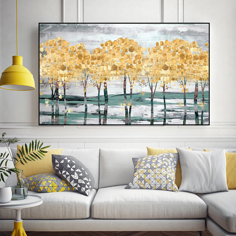 Simple modern light luxury horizontal plate abstract gold foil star fortune tree living room decoration sofa background oil painting customization