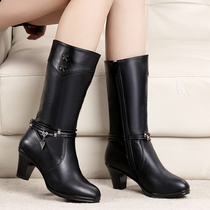 Autumn and winter the new high-heeled boots women boots boots cotton boots with coarse knight boots winter fashion mothers shoes