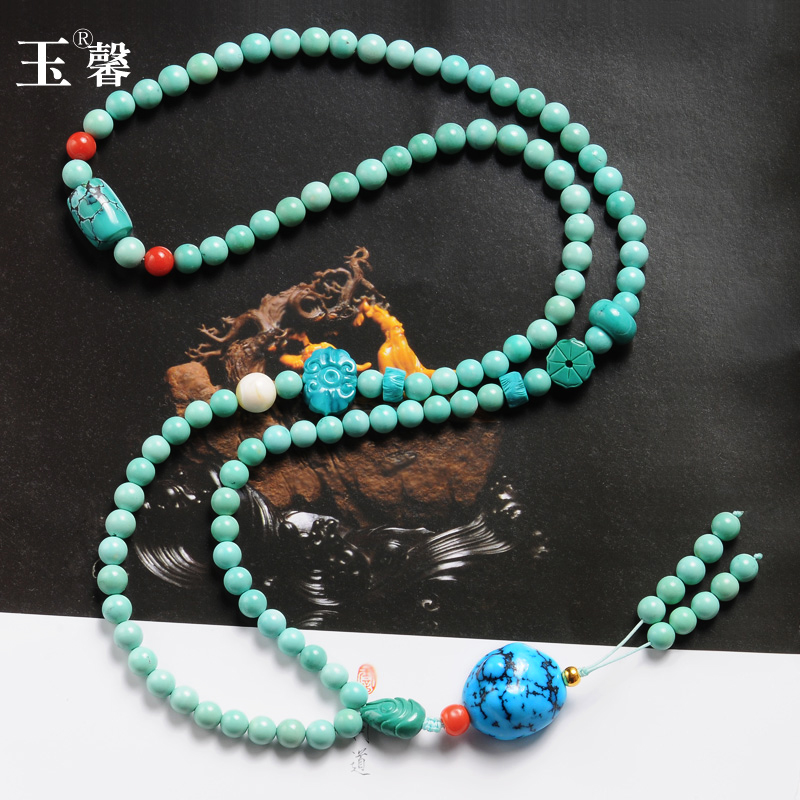 Turquoise Bracelet Necklace direct seeding raw ore no optimization high porcelain high blue loose bead three way pendant Yuxin 35