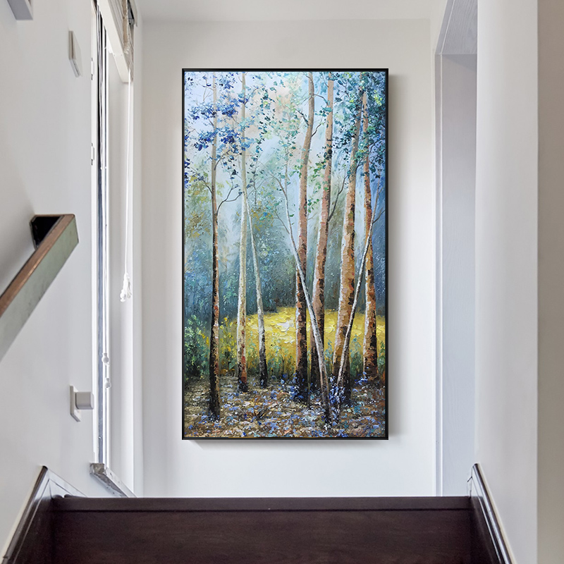 Pure hand-painted oil painting birch forest landscape painting European-style living room decorative painting porch vertical engraving hanging custom-made