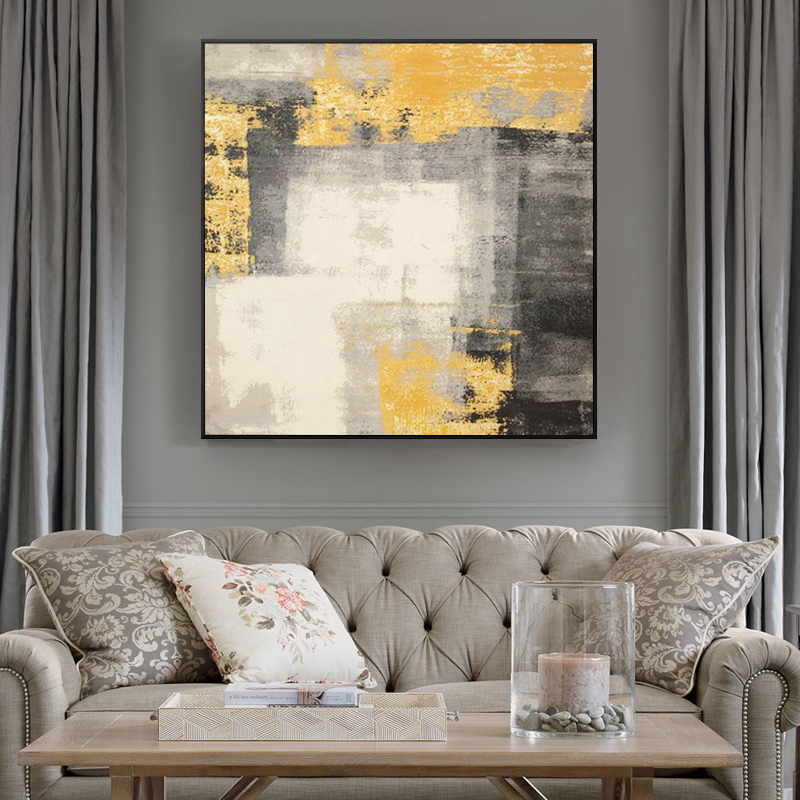 Pure hand-painted oil painting, American abstract decorative painting, porch hallway, hanging painting, living room, gold foil murals, light and luxurious by hand