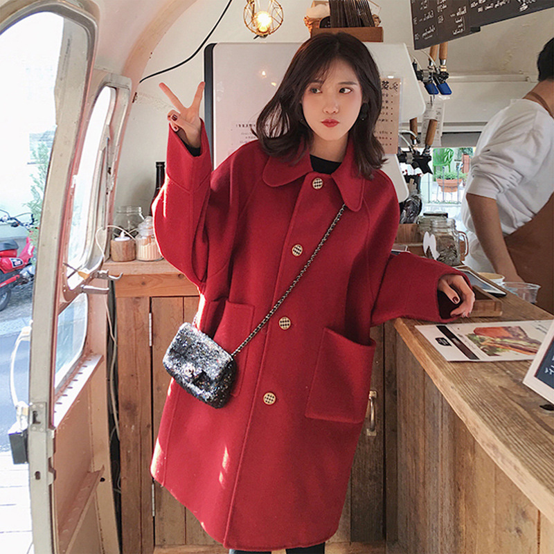 Winter 2020 new double-sided cashmere coat girl Hepburn wind big red loose-fitting wool coat
