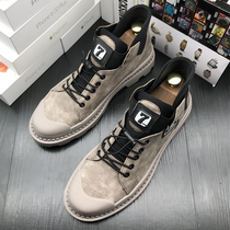 Tide brand Martin boots male Gao gang British winter cashmere tooling shoes 2020 new leather retro Korean shoes