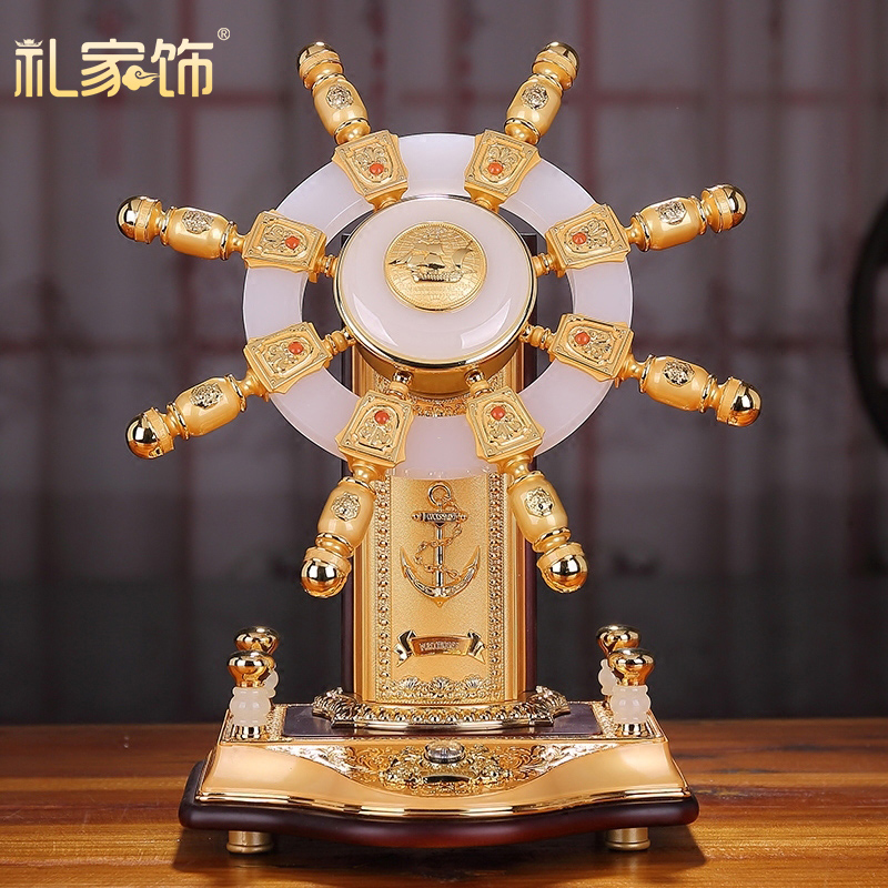 Jinyu plein gouvernail de direction jade manuel ornements roue gouvernail artisanat maison salon armoire à vin décoration créative