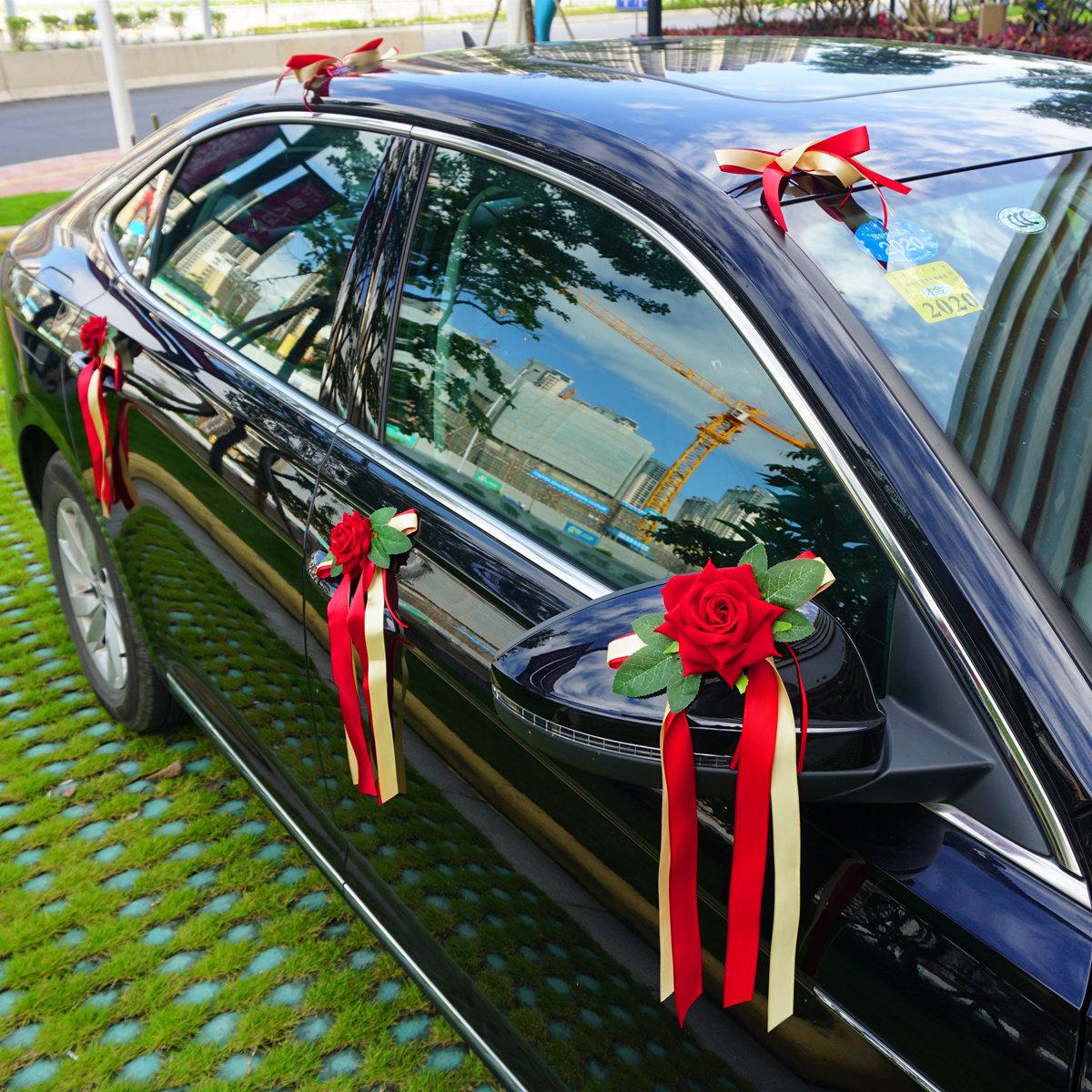 Mori tie wedding car flower decoration simulation flower wedding team decoration flower set handle pull flower butterfly flower