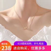 Small waist necklace womens summer 2021 new light luxury niche design sense sterling silver 18k gold collarbone chain does not fade