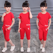 Girls summer suit 2017 new children in Korean fashion short children sports summer two piece suit