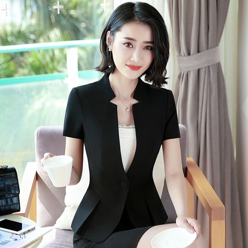 Summer suit coat women's Korean small suit work thin top fashion temperament formal professional ol skirt