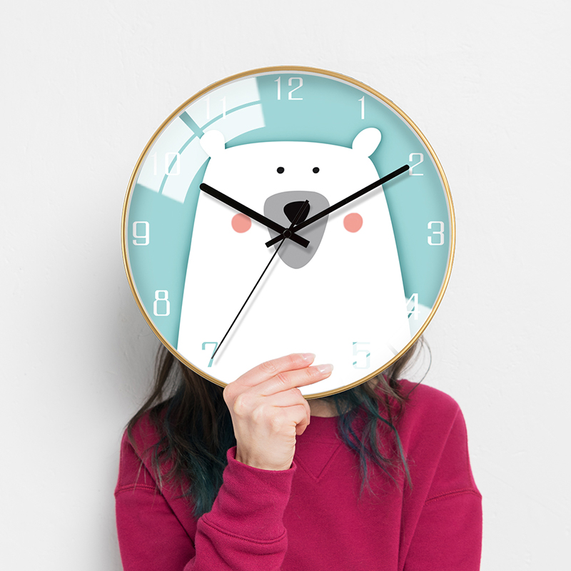 Nordic Cartoon Clock Children's Room Lovely Clock Household Living Room Watch Wall Individual Creative Bedroom Silent Clock