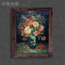 Carnation Hand-painted Oil Painting in Van Gogh Bottles European-style Neoclassical Flower Still Life Decorative Painting