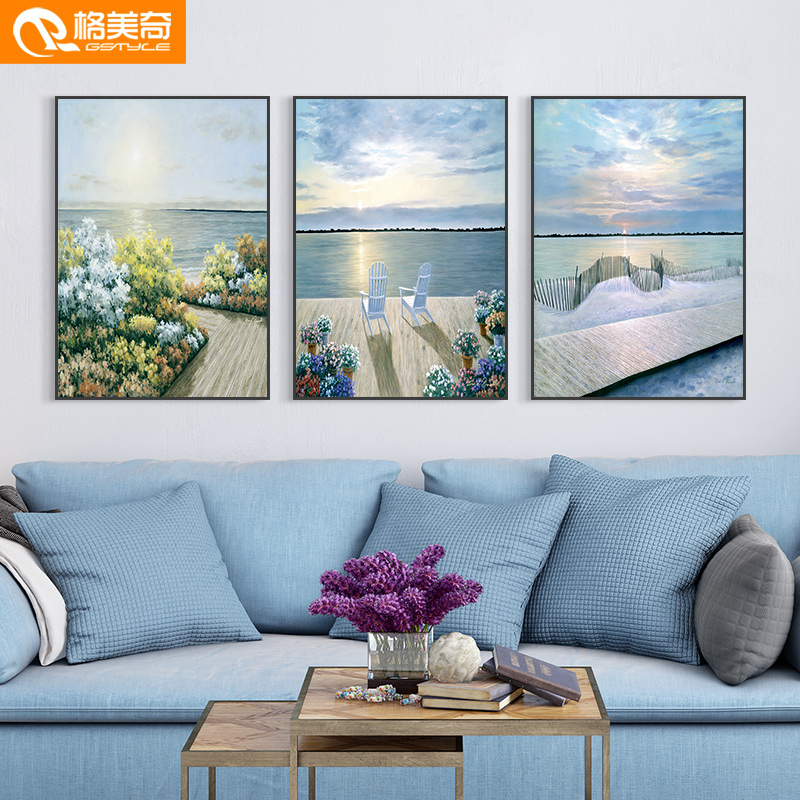 Living room sofa background wall decoration triple modern simple landscape hanging painting Nordic restaurant wall decoration mural