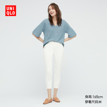 Uniqlo Womens high stretch three-point pants Spring and summer (Uniqlo high elastic pants) 433261 437279