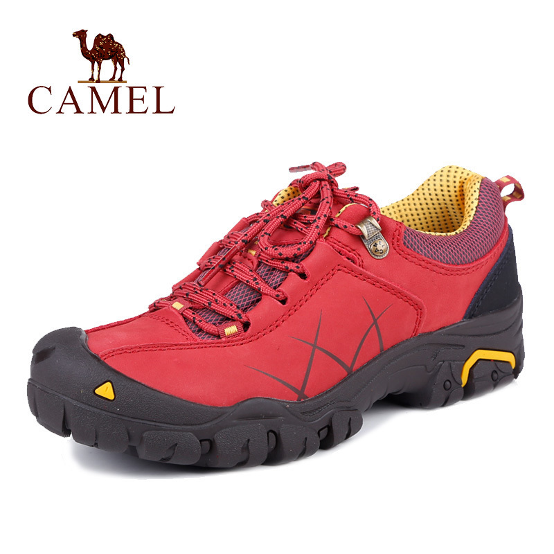 Camel outdoor hiking shoes women's shoes Autumn authentic non-slip leather belts lightweight hiking shoes Comfortable travel shoes