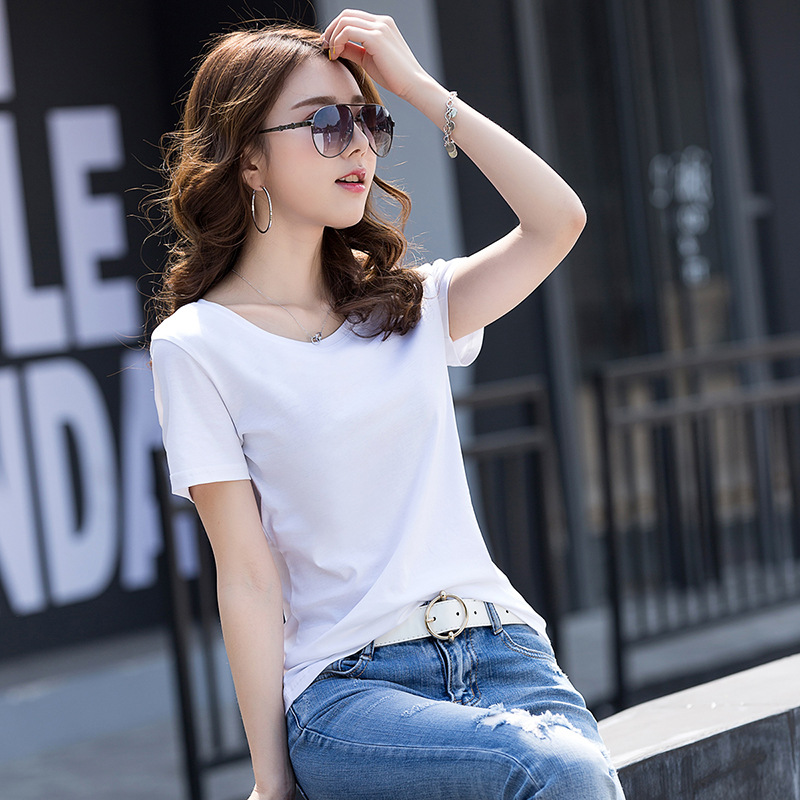 80 pieces of mercerized cotton fashion slim T-shirt women's short sleeve pure cotton high-end versatile bottoming shirt directly supplied by the manufacturer 8888