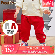 PawinPaw cartoon bear childrens clothing 2020 new spring baby girl trousers elastic waist solid color large PP pants