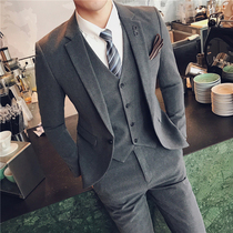 Suit mens suit casual solid color suit Korean version of business trim dress groom handsome wedding dress youth