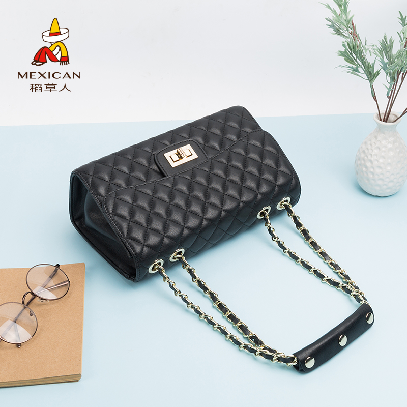 Scarecrow handbag unilateral ladies big bag Messenger bag rhombic chain 2018 new fashion wild Korean version of the tide