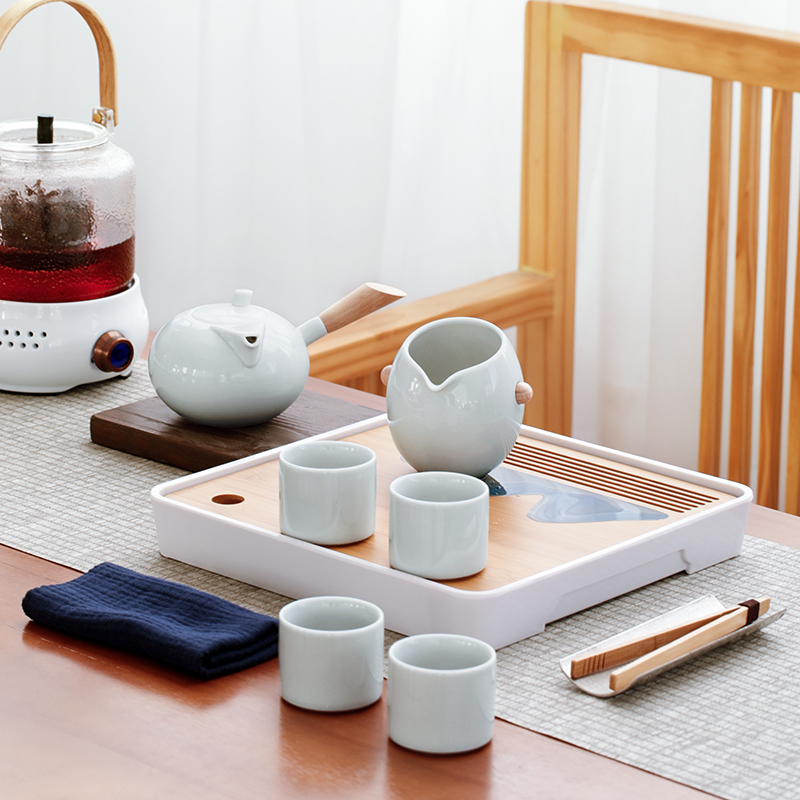 Kung Fu tea set set small set of home living room modern simple dry brewing tea plate ceramic teacourse office guests