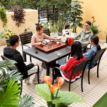Outdoor tables and chairs plastic wood garden table preservative wood rainproof sunscreen outdoor outdoor leisure balcony table and chair combination