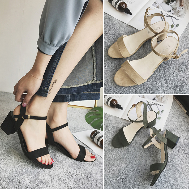 Sandals Women Summer 2019 New Korean Version Middle-heel Fastener 100-fold Rough-heel Middle-heel Black Women's Shoes 2018