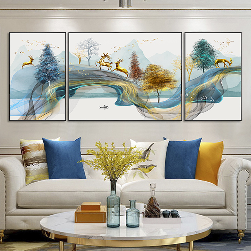 New Chinese Landscape Painting Fengshui Backing Mountain Modern Abstract Living Room Decorative Painting Sofa Background Wall Painting Fresco Triple