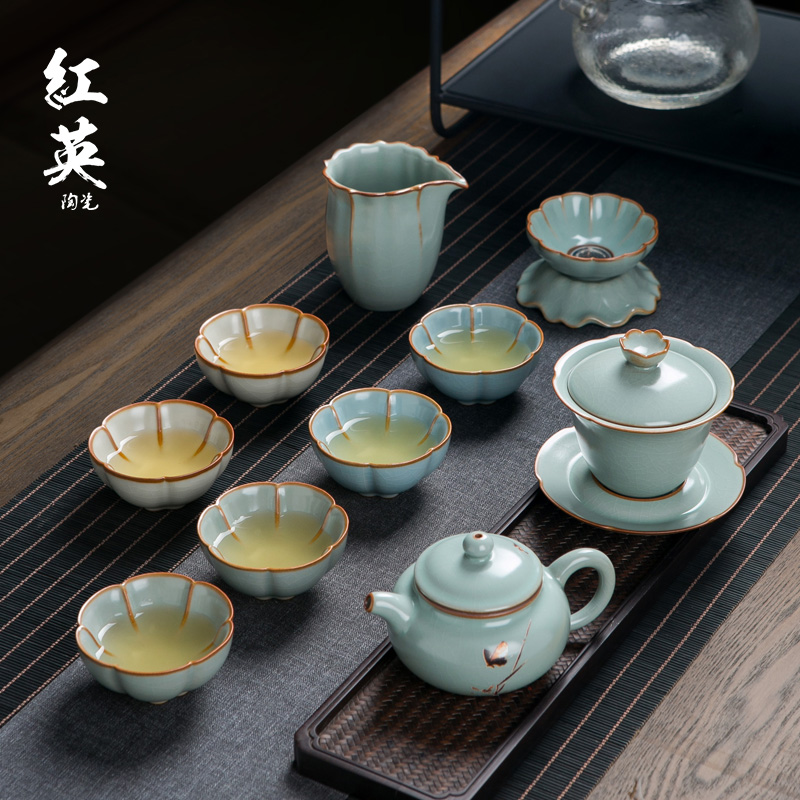 Yan kiln ice crack kung fu tea set set family living room open tea cup Jingdezhen ceramic teapot cover bowl tea maker