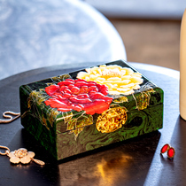 Pingyao Yonglong push light lacquer jewelry box storage box Vintage three gold Chinese style high-grade solid wood wedding gift