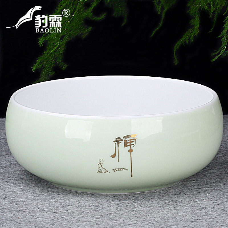 Tea wash large special large amount of water washing tea bowl ceramic kung fu tea set accessories tea ceremony zero with home tea plate