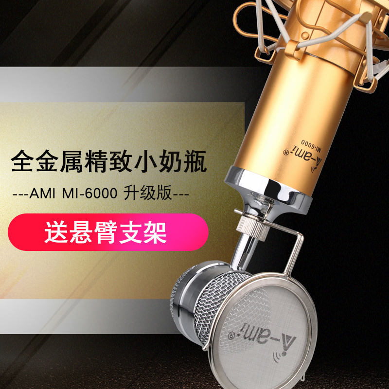 AMI MI-6000 Baby bottle condenser microphone set live computer network karaoke recording sound card package