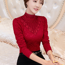 High collar lace bottoming shirt, long sleeves, 2018 new style, velvet thickened coat, autumn and winter, and warm air.