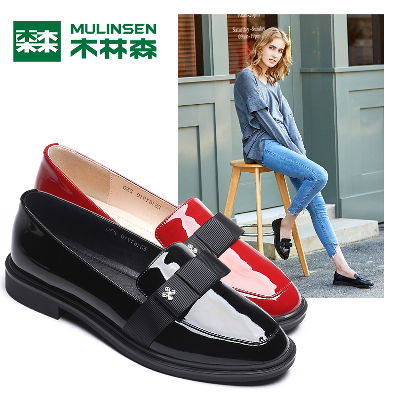 Mulinsen Women's Shoes Fall 2018 Fashion New Cattle Leather Slipper Women's Single Shoes Leisure British Street Wind Shoes