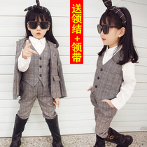 Girl Small suit set 2020 new spring and autumn childrens foreign air jacket little girl Korean version fashion catwalk suit
