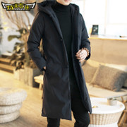 The man in the long winter coat China retro Hooded Jacket Wind youth costume cotton, modified Hanfu