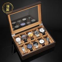 Li Li watch box Storage box Wooden jewelry box Buddha bead box Bracelet box Household simple watch box Watch box collection box