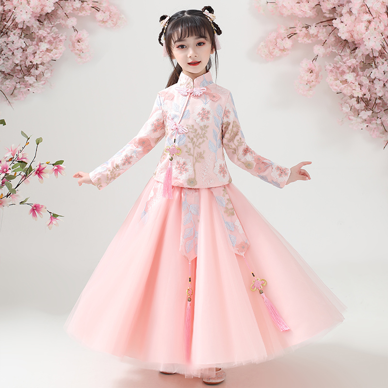 Girls' Hanfu 2020 spring new dress princess skirt children's autumn and winter children's dress dress foreign dress suit dress