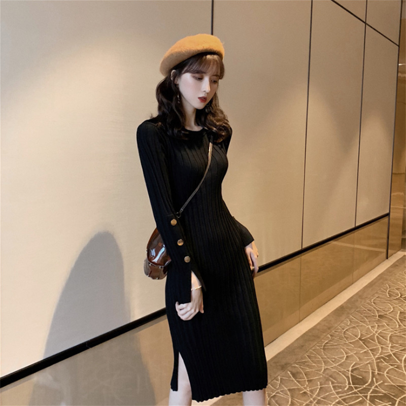 FAshi 2020 autumn winter dress new medium-length sweater skirt over the knee-length small black dress with a bottom knitted dress woman