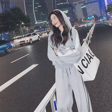 Sanitary Suit Women Spring and Autumn 2019 New Korean Version Loose BF Student Hat Fashion Leisure Sports Two-piece Set