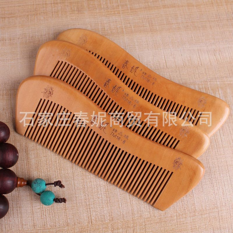 Chunny Portable Peach Wood Comb Practical Cosmetic Comb Creative and Lovely Modeling