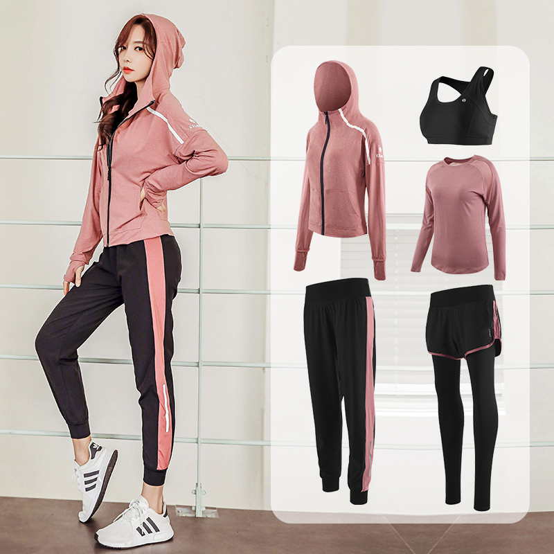 Yoga suit autumn winter long-sleeve gym morning running casual sports set womens speed dryer 2020 new net red