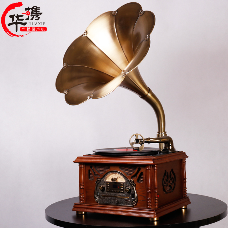 Chinese Gramophone Retro-European Living Room Solid Wood Black Rubber Recorder LP Old Bluetooth Subwoofer Recorder