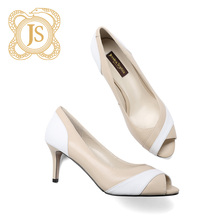 JESSICA SOPHIA Naked Single Shoe Female Xia Genuine Leather Fine Heel, Shallow and Elegant Temperament Fish Mouth High-heeled Shoe Female